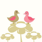 Ducks couple in love. — Stock Vector