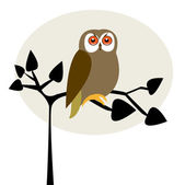 Cute owl on the tree — Stock Vector