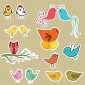 可爱的鸟类设置。复古矢量图 — 图库矢量图片