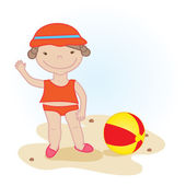 Cute little girl with beach ball — Stock Vector
