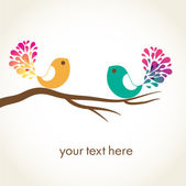 Birds couple in love. Vector background. — Vettoriale Stock
