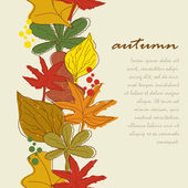 Vertical seamless border with autumn leaves background. — Stock Vector