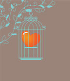 Heart in birdcage. Vector background. — Stock Vector