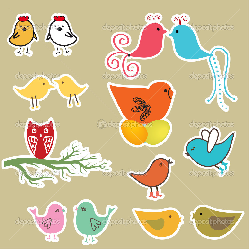 Cute birds set. Vintage vector illustration   Stock Vector #3914441