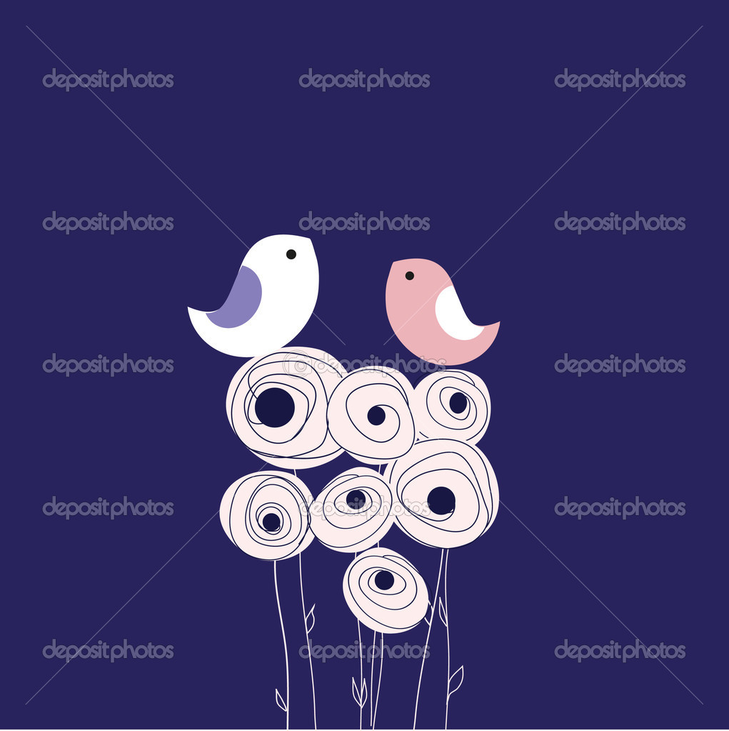 Birds couple in love. Vector background.  — Stock Vector #3914513