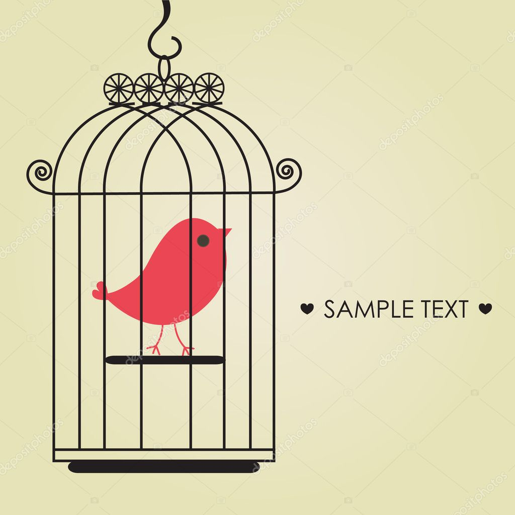 Cute bird in birdcage  — Stock Vector #3914921