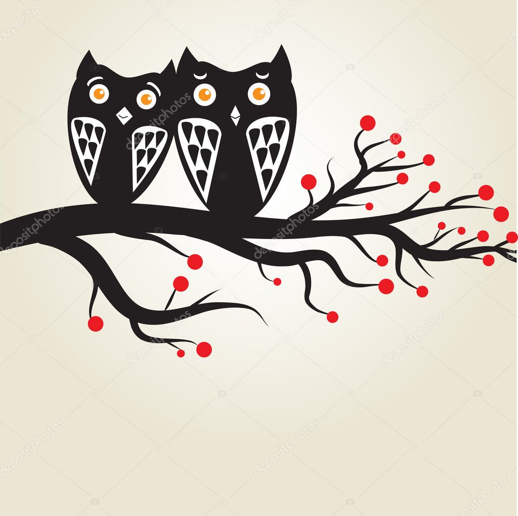 Owls couple on the tree.Vector illustration  — Stock Vector #3915112