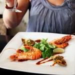Fried prawn in a restaurant — Stock Photo