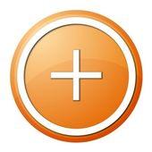 Orange plus button — Stock Photo