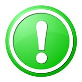 Green exclamation point button — Stock Photo