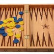 Backgammon with chips and dice - Stock Photo