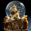 Christmas snow globe with Santa Claus — Stock Photo