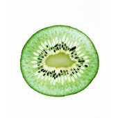 Kiwi rebanada delgada transparente sobre fondo blanco — Foto de Stock