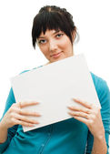 Woman showing a blank sheet of paper — Stock Photo