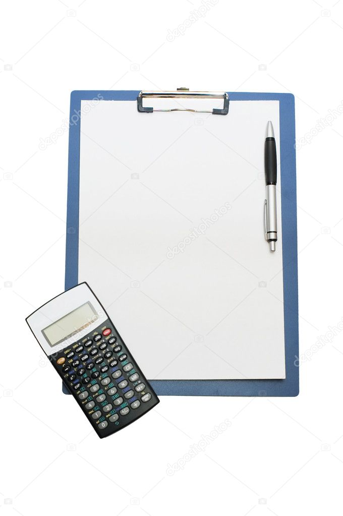 Blank clipboard And the calculator  Stock Photo #2788862