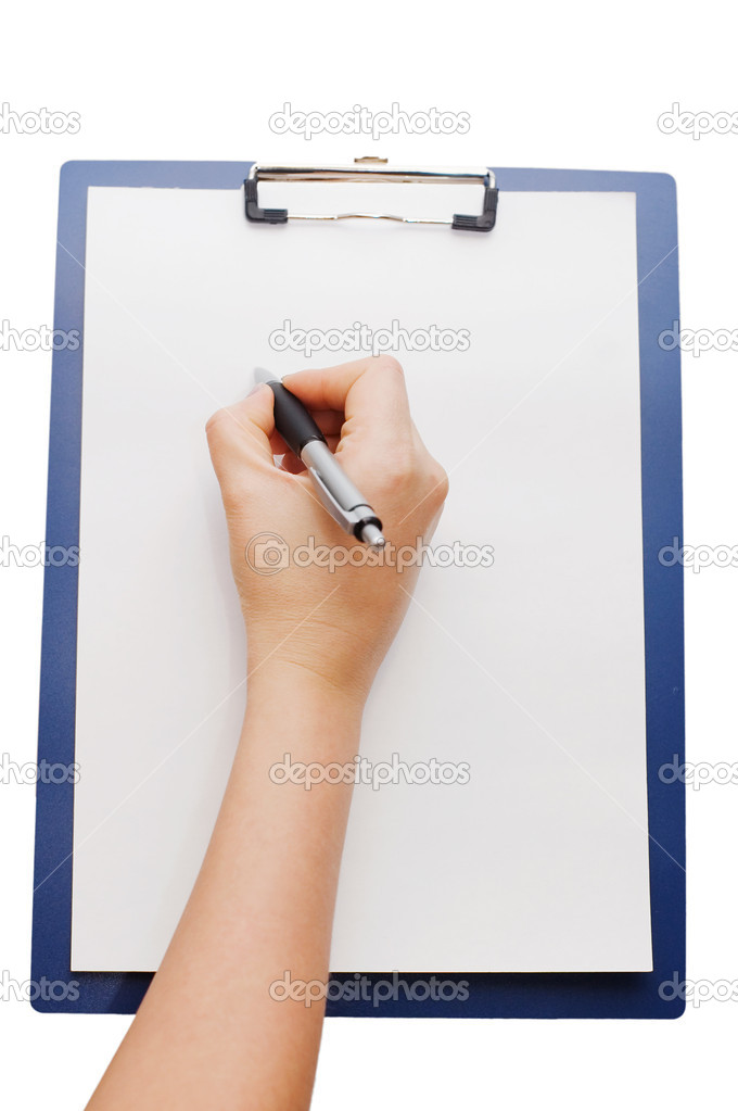 Clipboard and hand on a white background — Stock Photo #2789245