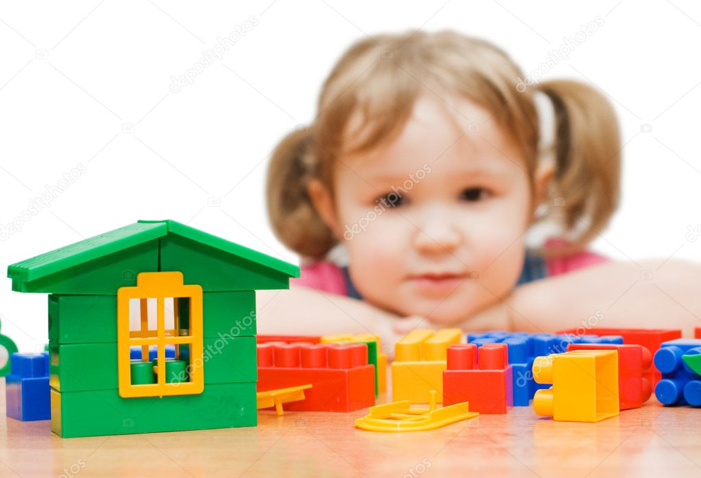 The beautiful girl with toy blocks — Foto Stock #2789252