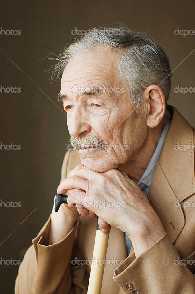 Old man with moustaches in a jacket  Stock Photo #2817796