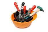 Narzędzia budowlane w pomarańczowym kasku — Zdjęcie stockowe
