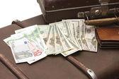 Eski bir bavula para konuyor — Stok fotoğraf