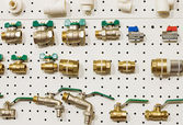 Set of water valves at the stand — Stock Photo