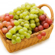 Wattled basket with grapes isolated - Stock Photo