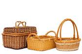 Wattled basket isolated on white — Stock Photo