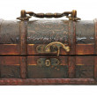 Single closed wooden chest — Stock Photo