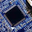 Close up of computer circuit board — Stock Photo