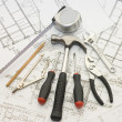 Building tools on the house project — Foto de Stock