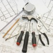 Building tools on the house project — Stock Photo #3090724