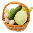 Stock Photo: Wattled basket with vegetables