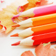 Colorful pencil and wood shavings — Stock Photo