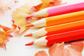 Colorful pencil and wood shavings — Foto de Stock