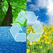 Recycling sign with images of nature - eco concept - Stock Photo