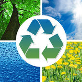 Recycling sign with images of nature — Stock Photo