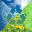Conceptual recycling sign with images of nature - 图库照片