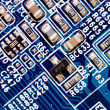 Stock Photo: Close up of computer circuit board in blue