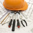 Stock Photo: Building tools on the house project