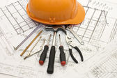 Building tools on the house project — Stock Photo