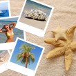 Stock Photo: Two starfishes and photos on beach towel
