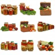 Fresh and tinned vegetables isolated on white — Stock Photo