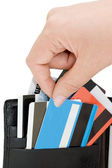 Credit card in a purse — Stockfoto