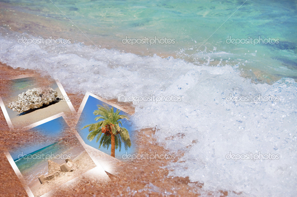 Tropic beach theme collage composed of few photos — Stock Photo #3911970