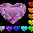 Wektor stockowy : Heart diamonds set