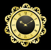 Vintage golden clock — Vector de stock