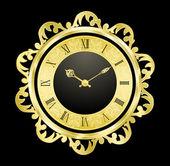 Vintage gouden klok — Stockvector