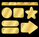 Golden textured buttons and menu — Stock Vector