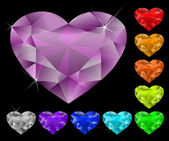 Heart diamonds set — Vector de stock
