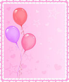Romantic greeting card with balloons — Vector de stock